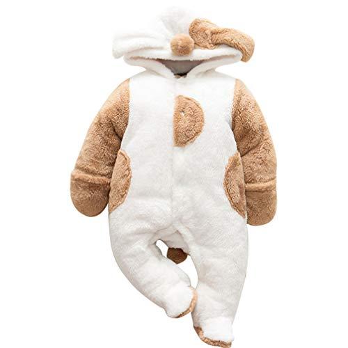 JEELINBORE Baby Strampler Pyjama Tier Kostüme Plüsch Tieroutfit Cosplay Jumpsuit Spielanzug Winter Nachtwäsche mit Kapuze (Weiß Welpe, 80CM)