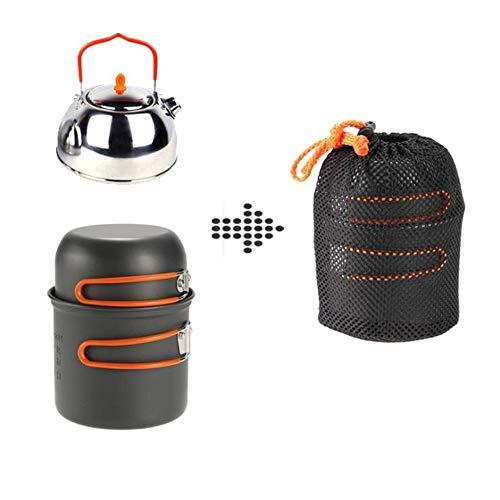 Outdoor Supplies Praktisch, multifunktional Pan Kettle Leichte Outdoor-Kochausrüstung Portable Backpacking Cookset Mit Netztasche Faltbare Aluminium Camping Kochgeschirr Mess Kit Pot
