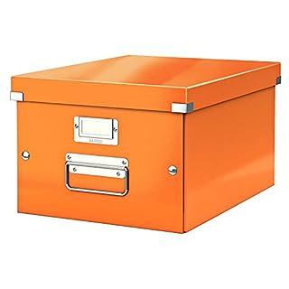 Leitz, Mittelgroße Aufbewahrungs- und Transportbox, Orange, Mit Deckel, Für A4, Click & Store, 60440044