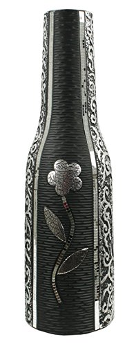 Flourish Tall Silver Floor Vase with Sparkly and Diamante Design, 60cm, Ceramic, Black, 19 x 19 x 60 cm