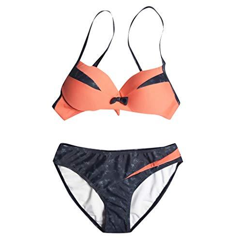 Wtouhe Bikini High Waist Damen Zweiteiliger Bikini Set Hohe Taille Bikinihose mit Langem Volant Plus Size Frauen Einteilige Print Bikini Color Block Mesh Bademode Beachwear -