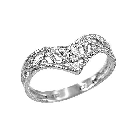 Fine 10ct White Gold Filigree Chevron Diamond Ring for Women
