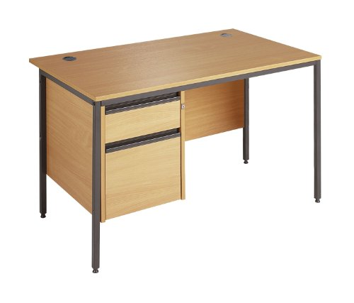 Affordable Minuet 1532 Straight Desk 4 Legs 2 Drawer Fixed Pedestal – Oak