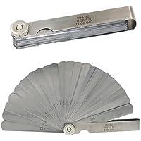 Reusious 32 cuchillas de acero inoxidable Feeler Gauge doble marcado métricas y la herramienta de medición Imperial Gap