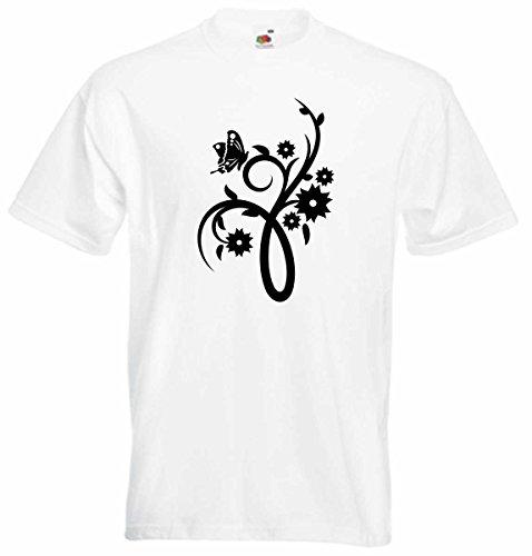 T-Shirt D202 T-Shirt Herren schwarz mit farbigem Brustaufdruck - Tribal Ranke mit schönen Blüten und Insekten Schwarz