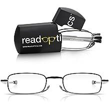 Read Optics Occhiali da tasca pieghevoli e custodia. Occhiali da vista da uomo e da donna con piccoli occhiali pieghevoli per la lettura con bracci estensibili e supporto per mini-occhiali (grigio, +1.5)