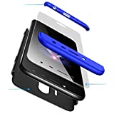 AILZH ALZH Funda Samsung J5 2017+Película Vidrio Templado Cubierta 360 Grados Caja protección de cáscara Dura Anti-Shock Anti-rasguño Protector Completo del Cuerpo 360°Caso Mate(Azul Negro)