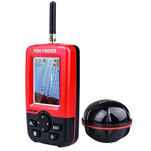 LongrunerFish finder:a portable fish finder and depth finder.   Features:  It measures water depth, bottom contour max to 260ft (80m) and surface water temperature.   It can show fish on the colorful display screen, white LED backlight design for cle...