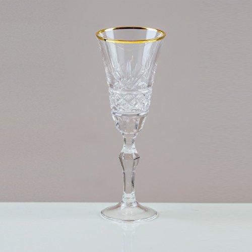 Victoria cristal avec rebord Fantail verres à Liqueur en cristal au ploMB 24% taillé à la main 100% (Lot de 6) Cut Punch Bowl