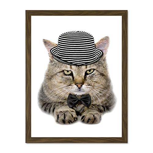 Wee Blue Coo LTD Photo Composition Cat Hat Bow Tie Stripes Fur Feline Eyes Large Framed Art Print Poster Wall Decor 18x24 inch Blue Stripe Bow Tie