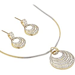 Zeneme American Diamond Gold Plated Big Size Pendant Necklace Set for Women & Girls (Round)