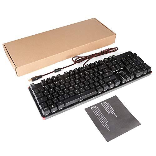 HermosaUKnight LESHP 105 Tasten USB-Kabelgebundenes Spiel Mechanische Tastatur mit LED-Hintergrundbeleuchtung-Schwarz