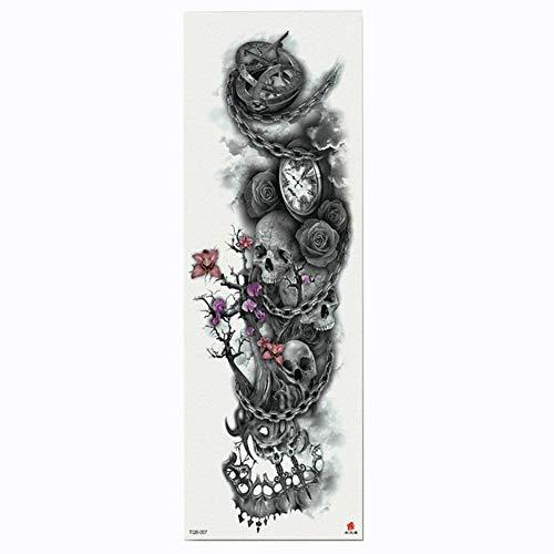 Tatuaggio completo per tatuaggio con bracciali a forma di fiore e orologio da tasca. custodia per tatuaggio a trasferimento d'acqua con corpo in vernice temporizzata, confezione da 4,17×48cm