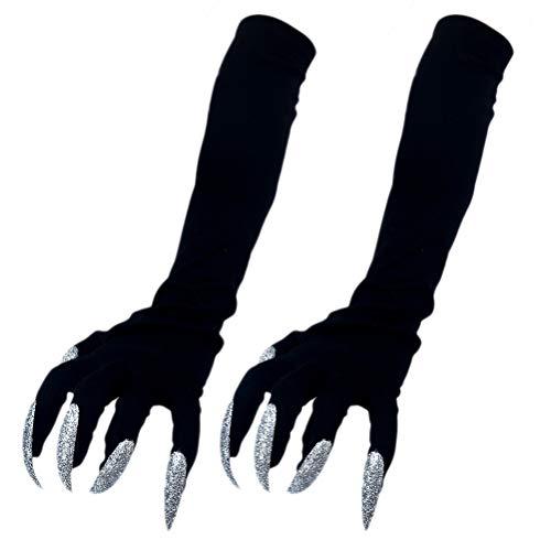BESTOYARD Halloween-Kostümhandschuhe Gruselige Nägel Fingernägel Handschuhe Krallen Halloween Cosplay Golves - 1 Paar