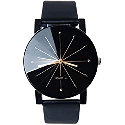 WINWINTOM 1PC Women Quartz Dial Clock Leather Wrist Watch Round Case-Black