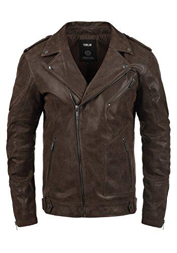 SOLID Mash Herren Lederjacke Echtleder Bikerjacke mit zahlreichen Metall-Details aus 100% Leder, Größe:L, Farbe:Tabacco (5050) Jacke Leder Herren Braun