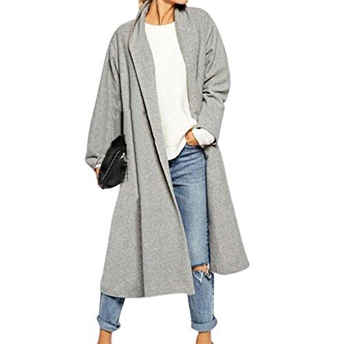 Damen Übergangsjacke Klassischen Doppelten Breasted Trenchcoat Lange Jacke Warm Mantel Outwear (5XL, Grau)