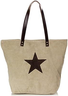 XL Shopper - bolsos de hombro del ante de la estrella del remiendo - de gran tamaño (40 x 34 x 12 cm)