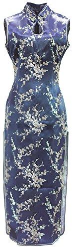 7Fairy Damen Marine Blau Cheongsam Chinesisch Kleid Blumen Lang Schlüsselloch Größe De 36 (Satin Chinesische Cheongsam Kleid)