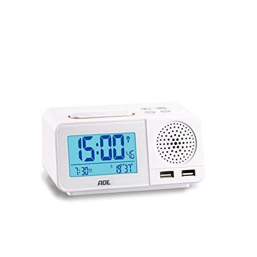 ADE CK1708 Digitaler Radiowecker mit Funkuhr, 2 Weckzeiten, Snooze, LCD-Display, Thermometer, Hygrometer, UKW Radio und Kalender Weiß