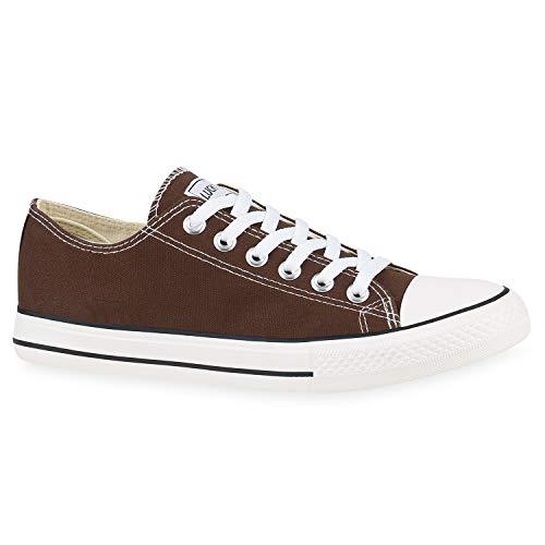 Stiefelparadies Damen Sneakers Low Canvas Schuhe Turnschuhe Freizeit 172632 Dunkelbraun Ambler 46 Flandell Canvas Low Top Sneaker