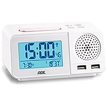 ADE ck1708Radio despertador digital con radio reloj, 2alarmas, Snooze, pantalla LCD, termómetro, higrómetro, FM Radio y calendario Color Blanco
