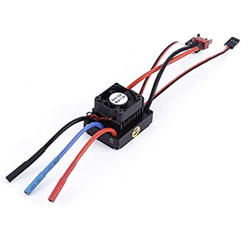 PIXNOR 60A ESC Sin Escobillas Controlador de Velocidad Electrónico con Ventilador para Coche 1:10