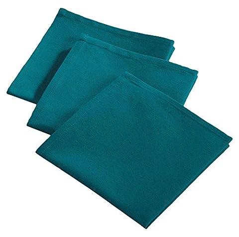 Le Jardin des Cigales 3003342 Ideale 3 Serviettes de Table Coton Bleu 40 x 40 cm