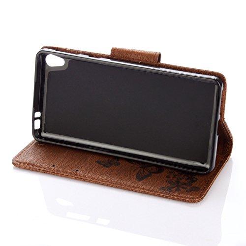 Custodia Xperia E5, ISAKEN Flip Cover per Sony Xperia E5 con Strap, Elegante borsa Tinta Unita Farfalla Design in Sintetica Ecopelle PU Pelle Protettiva Portafoglio Case Cover con Supporto di Stand /  Farfalla: marrone