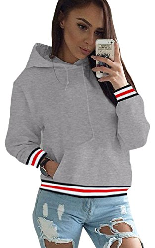 ECOWISH Herbst Damen Pulli Hoodies Pullover Lange Sweatshirt Kapuzenjacke Top Jacke