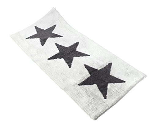 XXL Badematte weiß mit grauen Sternen 100 % Baumwolle Teppich Läufer (70 x 150 cm weiß)