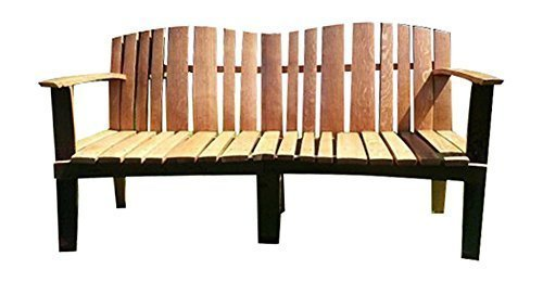 Linski in legno massello di rovere Whiskey Barrel unico a 3 posti per panca in legno, fusto