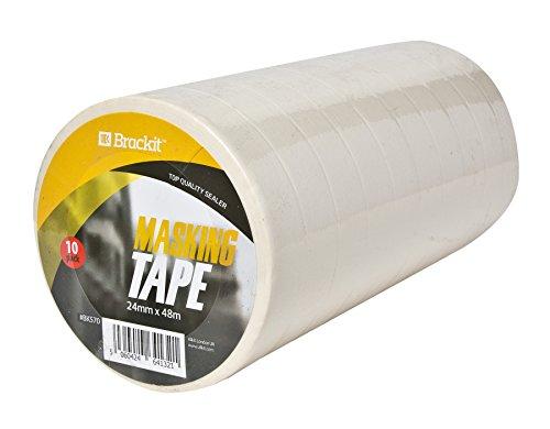 10er-Pack Abklebeband Malerband 24mm x 48m je Rolle Kreppband Abdeckband weiß für Lackierarbeiten und Malerarbeit - 3