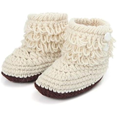 Malloom® Bebé Girls ganchillo hecho a mano de punto de alta top botas altas zapatos perla hebilla