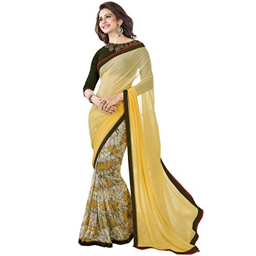 Vedant Georgette Saree (A7_Yellow_Yellow)