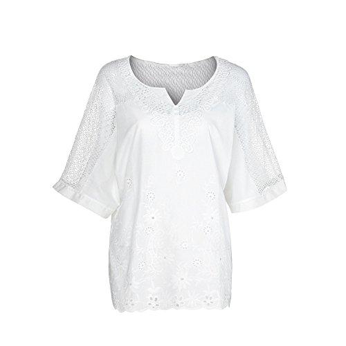 Lazzboy Frauen Sommer Oansatz Kurzarm Aushöhlen Solide Lässige Bluse Top T-Shirt Damen Damenmode V-Ausschnitt Print Langarm-lose Tops Mode Dame Tshirt Lange ärmel Shirt(Weiß,S)
