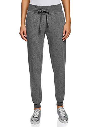 Oodji ultra donna pantaloni sportivi in maglia, grigio, it 44 / eu 40 / m