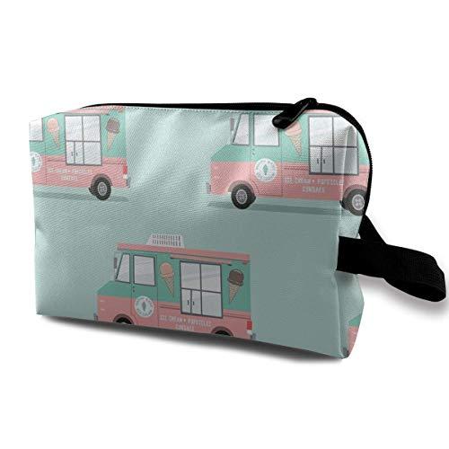 Ice Cream Trucks Portable Travel Makeup Cosmetic Bags Organizer Multifunction Case Toiletry Bags Digital Backpack Kit