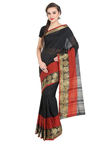 J B Fashion Women's Cotton Jaqard Black color Saree for women With...