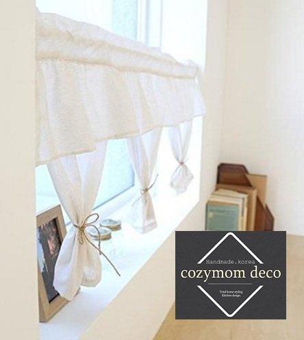 Handgefertigt Natürliche Baumwolle Cafe Gardine, Küche Volants, europäische ländlichen Fashion Fenster Vorhang für Home, einem Stück 50(W) X110(L) cm-ivory