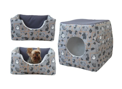 katzeninfo24.de COCO Kuschelhütte 2in1 für Hunde und Katzen Maße: ca. 53 x 53 x 53 cm