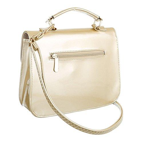 Schultertasche Handtasche Tragetasche Schwarz Gold