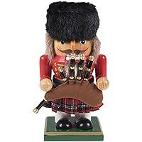 """Clever Creations - Traditioneller Nussknacker im Schotten-Look - rundliches Design - festliche Weihnachtsdeko - perfekt für Regale & Tische - Holz - rot & grün kariert - 7"""" (17,8 cm)"""