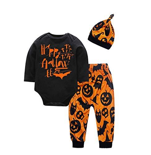 Tomatoa Neugeboren Kinder 3 Stück Bekleidungsset Strampler Halloween Lange Hülse Tops und Hosen mit Hut Festlich Kostüm Overall Babykostüm Outfits Spielanzug Kleider (0-3 Jahre)