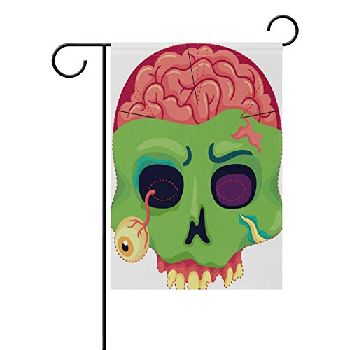 LINDATOP Halloween-Zombie-Maske Garten-Flagge, 30,5 x 45,7 cm, doppelseitig, Garten-Dekoration, Polyester Outddor-Flagge, Home Party, Polyester, Multi, 12x18(in)