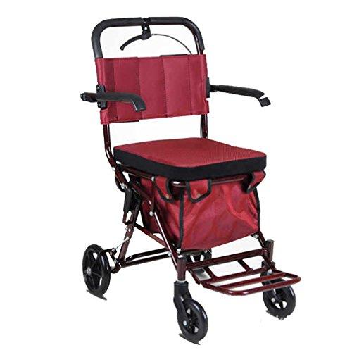 Rollator aus Edelstahl Rotfarben Walker klappbar Rollwagen 4 Räder Leichtgewichtrollator mit Sitzfläche und Korb