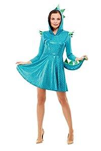 Smiffys 47769M - Disfraz de dragón para mujer, talla M, color azul