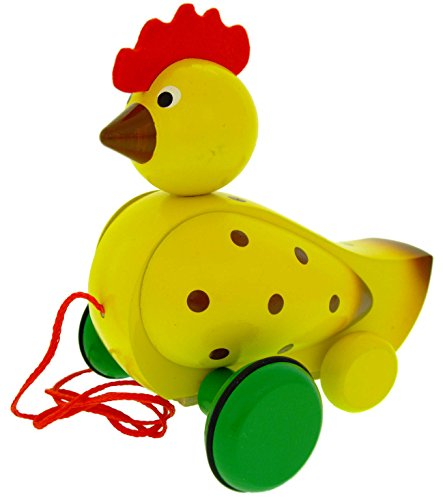 ABA Pull-Along Hen Cart with Motion and Sound (Coloured)