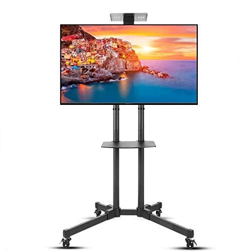UNHO Soporte Móvil de Suelo para TV LED LCD OLED Plasma de 32-70 Pulgadas con Rueda Universal y 2 Estantes Flotantes Altura Ajustable Carga Máx 50kg VESA 600×400