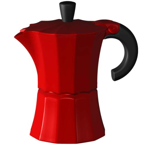 Gnali & Zani MOR002RED - Cafetera italiana, 3 tazas, color rojo